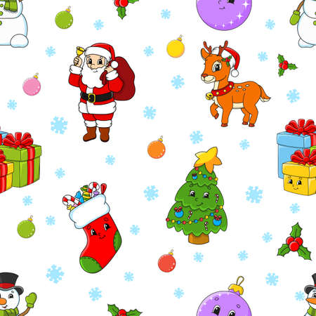 Colored cartoon seamless pattern. Christmas theme. Cartoon style. Hand drawn. Vector illustration isolated on white background.