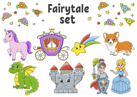 Set of stickers with cute cartoon characters. Fairytale theme. Hand drawn. Colorful pack. Vector illustration. Patch badges collection. Label design elements. For daily planner, diary, organizer. Vettoriali
