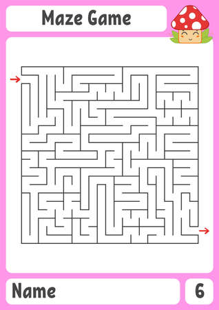 Square maze. Game for kids. Puzzle for children. Labyrinth conundrum. Color vector illustration. Find the right path. The development of logical and spatial thinking. Vettoriali