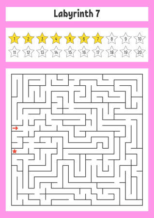 Square maze. Game for kids. Puzzle for children. Labyrinth conundrum. Color vector illustration. Find the right path. The development of logical and spatial thinking. Stock Illustratie