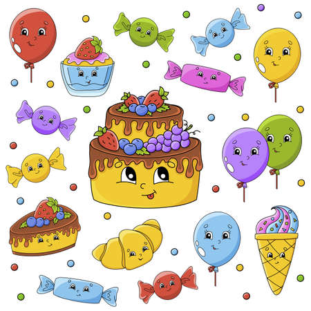 Set of stickers with cute cartoon characters. Happy birthday theme. Hand drawn. Colorful pack. Vector illustration. Patch badges collection. Label design elements. For daily planner, diary, organizer. Vettoriali