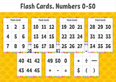 Flash cards. Learning numbers. Education developing worksheet. Activity page for kids. Color game for children. Vector illustration. Cartoon style. Vettoriali