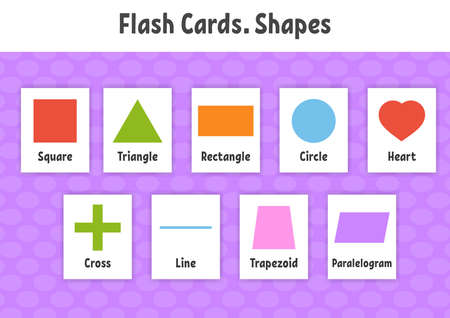 Flash cards. Learning shapes. Education developing worksheet. Activity page for kids. Color game for children. Vector illustration. Cartoon style.