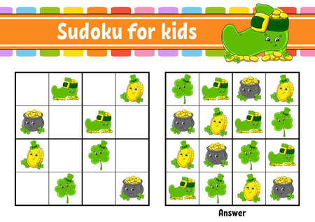 Sudoku for kids. Education developing worksheet. Cartoon character. Color activity page. Puzzle game for children. Logical thinking training. Isolated vector illustration. St. Patrick's day.
