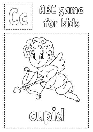 Letter C is for cupid. ABC game for kids. Alphabet coloring page. Cartoon character. Word and letter. Vector illustration.