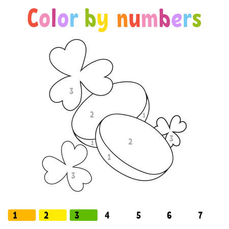 Color by numbers. Coloring book for kids. Vector illustration. Cartoon character. Hand drawn. Worksheet page for children. Isolated on white background. St. Patrick's day. Illustration