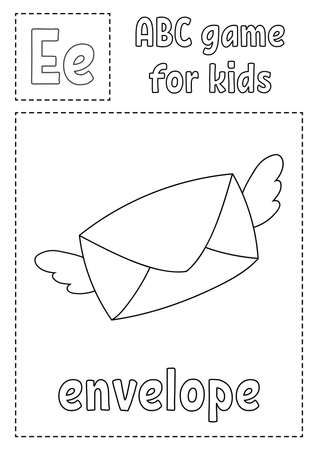 Letter E is for envelope. ABC game for kids. Alphabet coloring page. Cartoon character. Word and letter. Vector illustration. Illustration