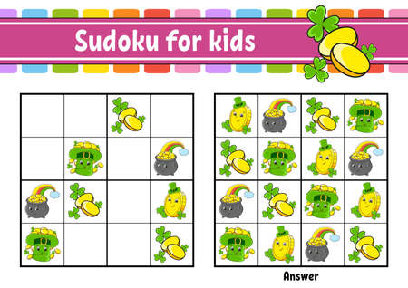 Sudoku for kids. Education developing worksheet. Cartoon character. Color activity page. Puzzle game for children. Logical thinking training. Isolated vector illustration. St. Patrick's day. Illustration