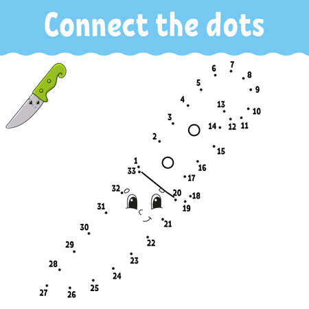 Dot to dot game. Draw a line. For kids. Activity worksheet. Coloring book. With answer. Cartoon character. Vector illustration. Vektorgrafik