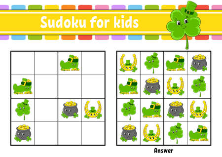 Sudoku for kids. Education developing worksheet. Cartoon character. Color activity page. Puzzle game for children. Logical thinking training. Isolated vector illustration. St. Patrick's day. 矢量图像