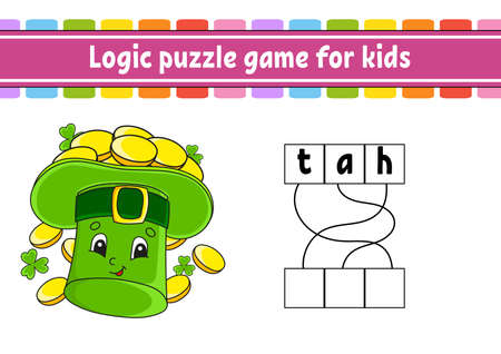 Logic puzzle game. Learning words for kids. Find the hidden name. Worksheet, Activity page. English game. Isolated vector illustration. Cartoon character. St. Patrick's day.