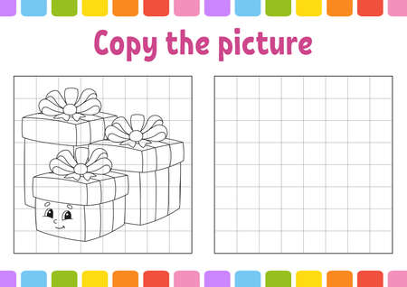 Copy the picture. Winter theme. Coloring book pages for kids. Education developing worksheet. Game for children. Handwriting practice. Funny character. Cute cartoon vector illustration.