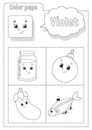 Coloring book. Learning colors. Color pictures. Flashcard for kids. Cartoon characters. Picture set for preschoolers. Education worksheet. Vector illustration.