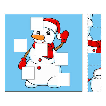 Puzzle game for kids. Cut and paste. Cutting practice. Learning shapes. Education worksheet. Winter theme. Activity page. Cartoon character.