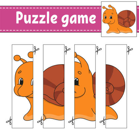 Puzzle game for kids. Cutting practice. Education developing worksheet. Activity page. Cartoon character.