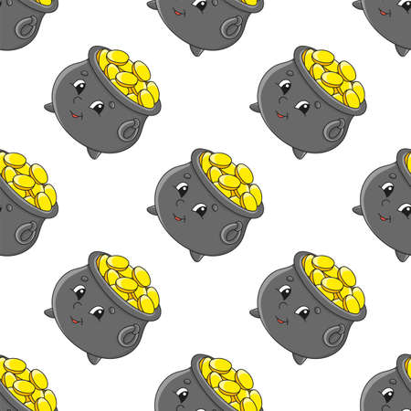 Colored seamless pattern. Cartoon style. Hand drawn. Vector illustration isolated on white background. For walpaper, poster, banner. Vettoriali