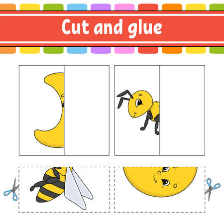 Cut and play. Paper game with glue. Flash cards. Education worksheet. Activity page. Funny character. Isolated vector illustration. Cartoon style. Vettoriali