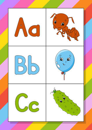 English alphabet with cartoon characters. Flash cards. Vector set. Bright color style. Learn ABC. Lowercase and uppercase letters.