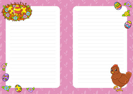 Easter theme Colored sheet template for notes. Paper page for art journal, notebook, diary, letters, schedule, organizer. Cute cartoon character. Lined sheet. Vector illustration. 矢量图像