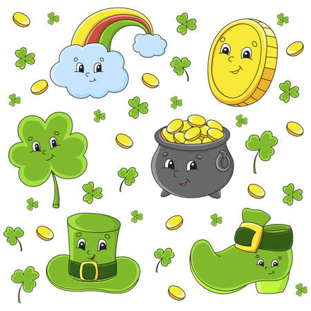 Set of stickers with cute cartoon characters. St. Patrick's Day. Hand drawn. Colorful pack. Vector illustration. Patch badges collection for kids