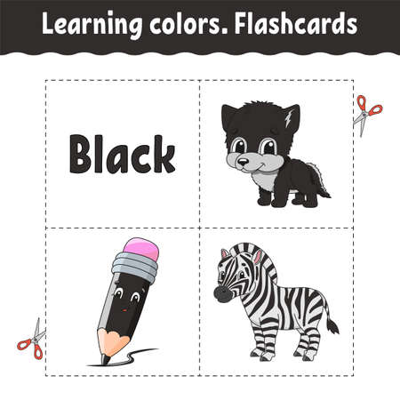 Learning colors. Flashcard for kids with Cute cartoon characters. Picture set for preschoolers. Education worksheet. Vector illustration.