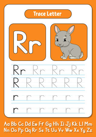 Worksheet for kids to Learn alphabet with Cute character. Color vector illustration. Cartoon style.