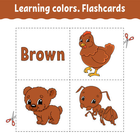 Learning colors with Cute cartoon characters. Picture set for preschoolers. Education worksheet. Vector illustration. 矢量图像