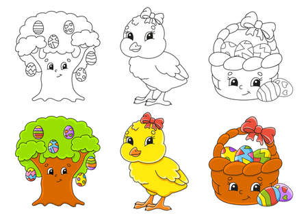 Easter theme Set coloring page for kids with Cute cartoon characters. Black stroke With sample. Vector illustration.