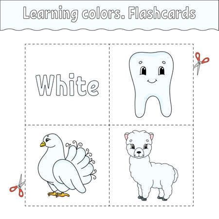 Learning colors. Flashcard for kids. Cute cartoon characters. Picture set for preschoolers. Education worksheet. Vector illustration. 矢量图像