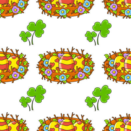 Easter theme Color seamless pattern with Cartoon style. Hand drawn Vector illustration isolated on white background.