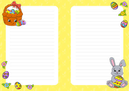 Easter theme Colored sheet template for notes. Paper page for art journal, notebook, diary, letters, schedule, organizer. Cute cartoon character. Lined sheet. 矢量图像
