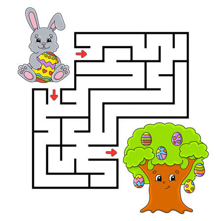 Easter theme Square maze Game for kids. Puzzle for children. Labyrinth conundrum. Color vector illustration.  Cartoon character. 矢量图像