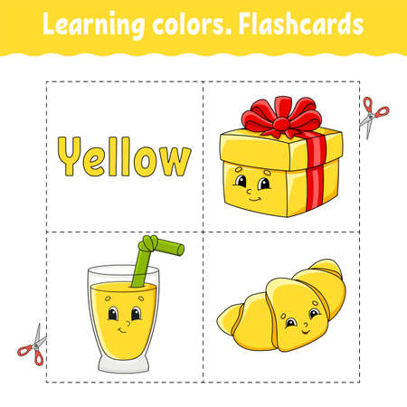 Learning colors Flashcard for kids with Cute cartoon characters. Picture set for preschoolers. Education worksheet Vector illustration.