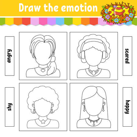 Draw the emotion. Worksheet complete the face. Coloring book for kids. Cheerful character. Vector illustration. Black contour silhouette. Isolated on white background. 矢量图像