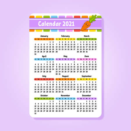 Calendar 2021 for kids. Isolated vector illustration with Funny character in Cartoon style.