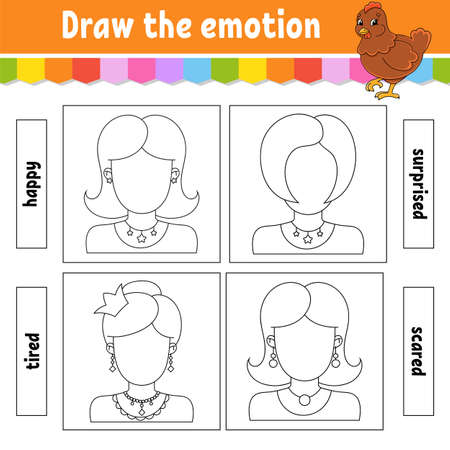 Draw the emotion. Worksheet complete the face. Coloring book for kids with Cheerful character. Vector illustration. Black contour silhouette. Isolated on white background. 矢量图像