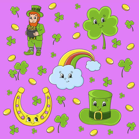 Set of stickers with cute cartoon characters. St. Patrick's Day. Hand drawn. Colorful pack. Vector illustration. Patch badges collection. Label design elements. For daily planner, diary, organizer. 矢量图像