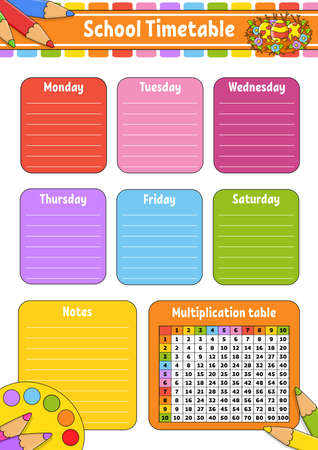 School timetable with multiplication table For the education of children. Isolated on a white background. With a cute cartoon character.