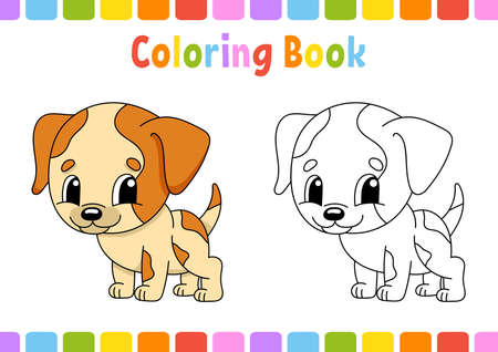 Coloring book for kids with Cartoon character. Vector illustration. Fantasy page for children. Black contour silhouette. Isolated on white background. 矢量图像