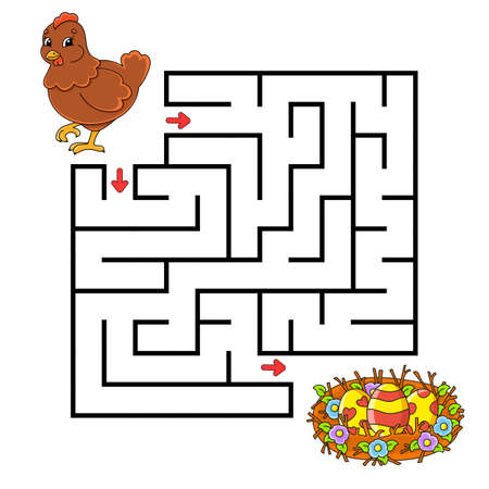 Square maze Game for kids. Puzzle for children. Labyrinth conundrum Color vector illustration. Isolated vector illustration Cartoon character. 矢量图像