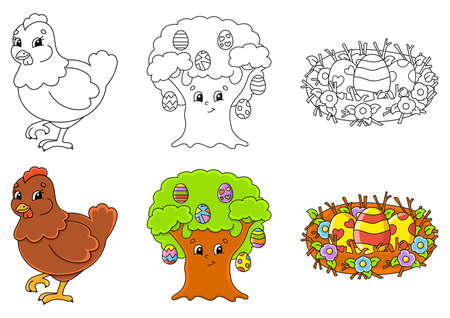 Easter theme Set coloring page for kids. Cute cartoon characters. Black stroke With sample. Vector illustration.