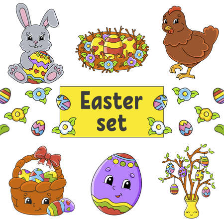 Set of cute cartoon characters. Easter clipart Hand drawn. Colorful pack Vector illustration. Patch badges collection Label design elements.