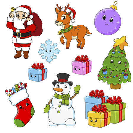 Set of stickers with cute cartoon characters. Christmas theme Hand drawn Colorful pack. Vector illustration. Patch badges collection. Label design elements.