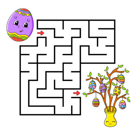 Easter theme Square maze Game for kids. Puzzle for children. Labyrinth conundrum Color vector illustration. Isolated vector illustration. Cartoon character.