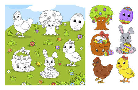Set of cute cartoon characters. Easter clipart. Hand drawn. Colorful pack Vector illustration. Patch badges collection. Label design elements. 矢量图像