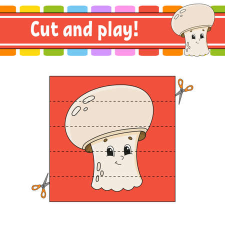 Cut and play Educational activity worksheet for kids and toddlers. Game for children with Happy characters. Simple flat color isolated vector illustration in cute cartoon style.