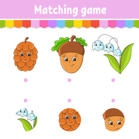 Matching game. Draw a line Education developing worksheet. Activity page with color pictures. Riddle for children. Isolated vector illustration. Funny character Cartoon style. 矢量图像