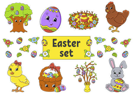 Set of cute cartoon characters. Easter clipart Hand drawn Vector illustration. Patch badges collection. Label design elements.