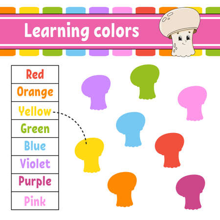 Learning colors. Logic puzzle for kids. Education developing worksheet. Learning game Activity page. Simple flat isolated vector illustration in cute cartoon style.
