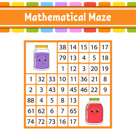 Mathematical maze Game for kids. Number labyrinth Education developing worksheet. Activity page Puzzle for children. Cartoon characters. Riddle for preschool Color vector illustration 矢量图像